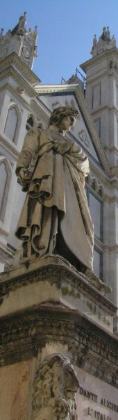 Statue of                   dante in piazza Santa Croce in Florence Italy